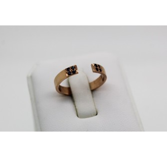 Bague or rose ouverte saphirs